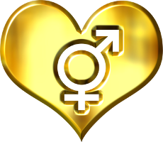 male and female sex symblols in heart